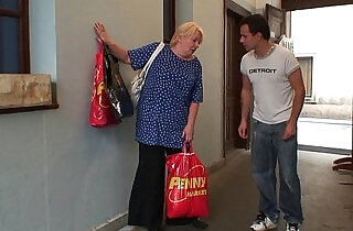 Old granny pleases an young guy.  xxx porn