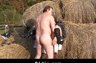 Rustic old man banging younger wife in the stack.  xxx porn