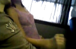 Handjob in a public bus.  xxx porn