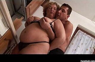 BBW Granny enjoys young dick.  xxx porn