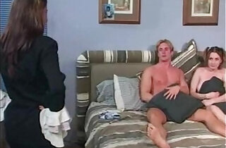 Mom Catches Babysitter Fucking and Joins In.  xxx porn