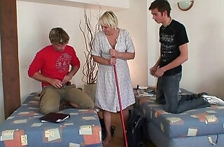 Two dudes share old bitch.  xxx porn