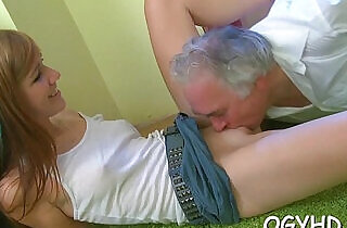 Young hottie teased by old crock.  xxx porn
