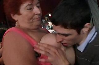 Crazy plump chicks have fun in the bar.  xxx porn