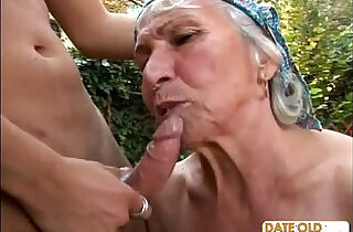 Granny Gets Reamed By Young Stud Outdoors.  xxx porn