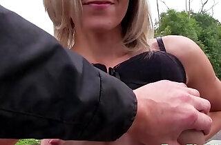 Pulled blonde flashing her big nipples.  xxx porn