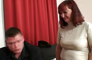 Poker playing granny swallowing two big cocks.  xxx porn
