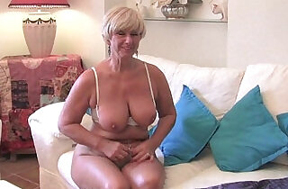 Chubby grandma with big old tits fucks a vibrator.  xxx porn