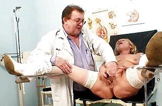 Blond granny pussy and vagina checkup.  xxx porn