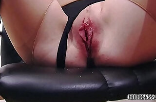 European coed Sindy Black masturbates in torn pantyhose.  xxx porn
