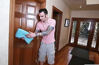 Stepson fucked his stepmom and tight gf in the bedroom.  xxx porn