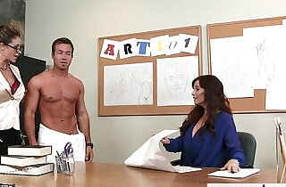 Sex teachers eva notty and syren de mer sharing a large dick in threesome.  xxx porn