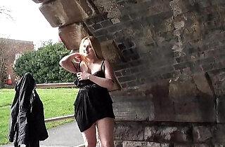 Blonde babe Sophie Keagan public flashing and upskirt masturbation.  xxx porn