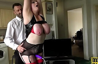Bound chubby Britt toyed while fucked by dom.  xxx porn