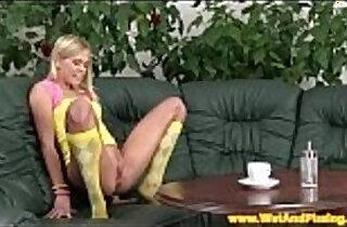 Piss fetish babe uses dildo while peeing.  xxx porn