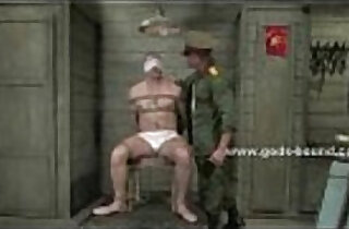 Gay soldier gets his torso covered in clothes pins by his commanding officer.  xxx porn