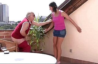 Boyfriends horny dad takes her pussy.  xxx porn