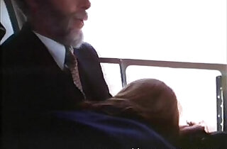 This old man gets blowjob in an airplane.  xxx porn