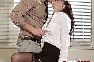 Office babe in glasses and stockings.  xxx porn