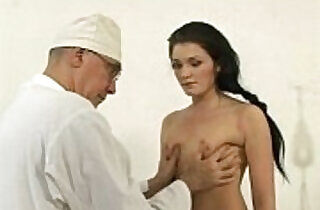 a cute brunette girl with a small tits on gyno exam.  xxx porn