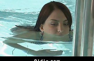 Sweet redhead sucking old cock at the pool.  xxx porn