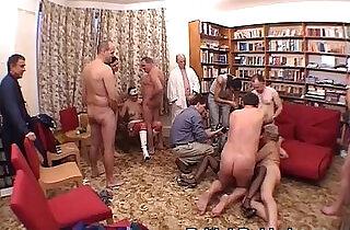 Blonde nurse has group sex with grandpas.  xxx porn