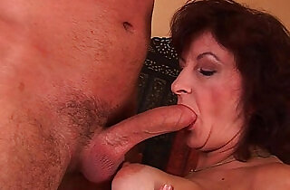 Grandma with big tits and hairy pussy gets facial.  tits   xxx porn