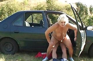 He picks up and fucks hitchhiking granny.  xxx porn