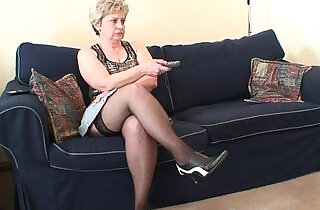 Old bitch takes on two cocks after masturbation.  xxx porn