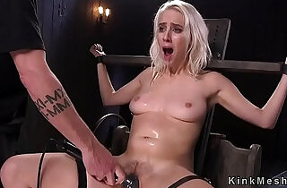 Blonde slave hard flogged and gagged with a glass dildo in bdsm.  gagged  ,  slaves   xxx porn