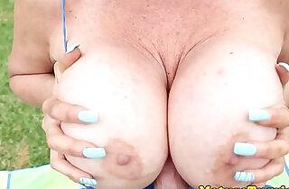 Granny jerks off guys dick outdoor.  xxx porn