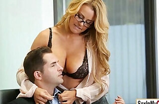 Busty Corinna Blake gets a pearl necklace from her boss.  xxx porn