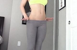 Blonde MILF yoga pants dildo fun.  xxx porn