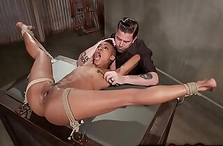 Tiied up ebony sub clamped pussy during their session.  xxx porn