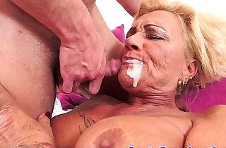 Tattooed gilf fucked hard with big juggs love.  xxx porn