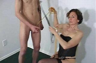 Oldie mistress demands man to masturbate before she sucks cock.  xxx porn