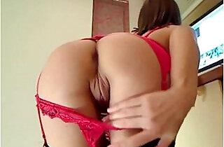 Class cam girl Anouschka in her red garter belt.  xxx porn