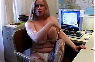 Busty cougar in fishnet stockings.  stockings   xxx porn